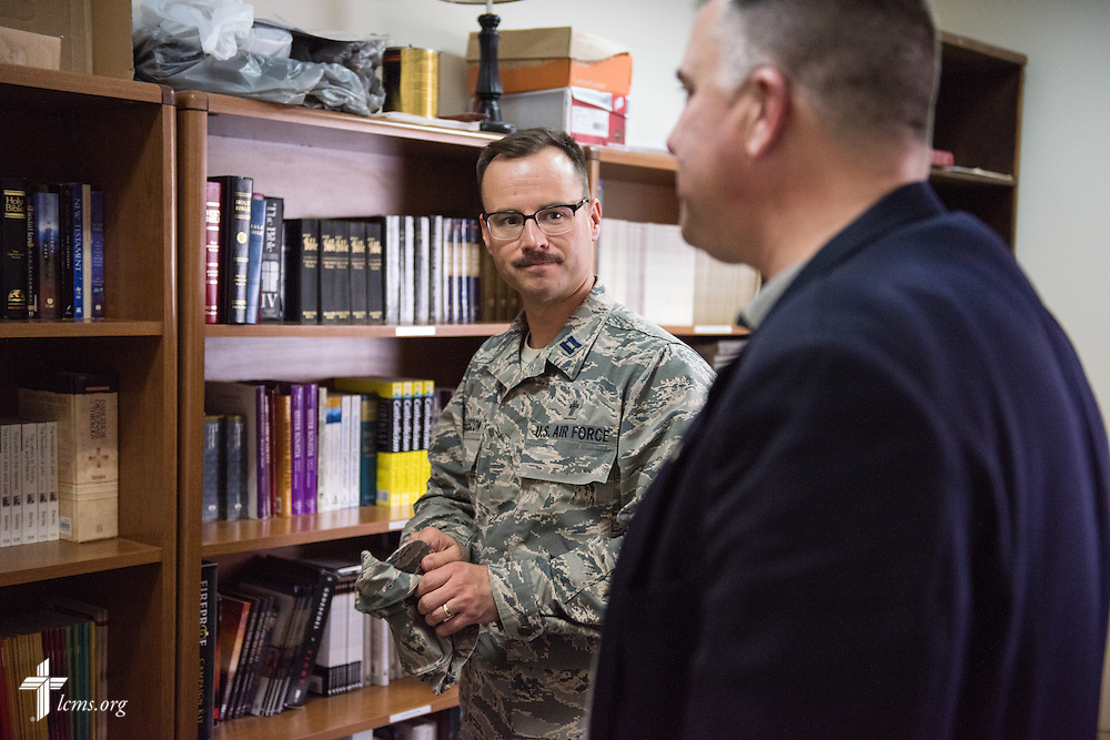 Air Force Capt. Joseph Eggleston, chaplain, 386th Air Expeditionary Wing, meets with the Rev. Craig G. Muehler, director of the LCMS Ministry to the Armed Forces on Monday, March 23, 2015. LCMS Communications/Erik M. Lunsford