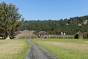 "Fort Ross State Historic Park preserves a former Russian colony (1812-1842) on the west coast of North America, in what is now Sonoma County, California, USA. Stockade walls were reconstructed several times from 1929-1997. Visit Fort Ross and dramatic coastal scenery 11 miles north of Jenner on California Highway One. Initially, sea otter pelts funded Russian expansion, but by 1820, overhunting motivated the Russian-American Company to introduce moratoriums on hunting seals and otters, the first marine-mammal conservation laws in the Pacific. Russian voyages greatly expanded California's scientific knowledge. For centuries before Europeans arrived, this site was called Metini and had been occupied by the Kashaya band of Pomo people who wove intricate baskets and harvested sea life, plants, acorns, deer, and small mammals. Sponsored by the Russian Empire, ""Settlement Ross"" was multicultural, built mostly by Alaskan Alutiiq natives and occupied by a few Russians and 300-400 native Siberians, Alaskans, Hawaiians, Californians, and mixed Europeans. Renamed ""Ross"" in 1812 in honor of Imperial Russian (Rossiia), Fortress Ross was intended to grow wheat and other crops to feed Russians living in Alaska, but after 30 years was found to be unsustainable. Fort Ross was sold to John Sutter in 1841, and his trusted assistant John Bidwell transported its hardware and animals to Sutter's Fort in the Sacramento Valley. Fort Ross is a landmark in European imperialism, which brought Spanish expanding west across the Atlantic Ocean and Russians spreading east across Siberia and the Pacific Ocean. In the early 1800s, Russians coming from the north met Spanish coming from the south along the Pacific Coast of California, followed by the USA arriving from the east in 1846 for the Mexican-American War. Today, Fort Ross is a California Historical Landmark and a National Historic Landmark."