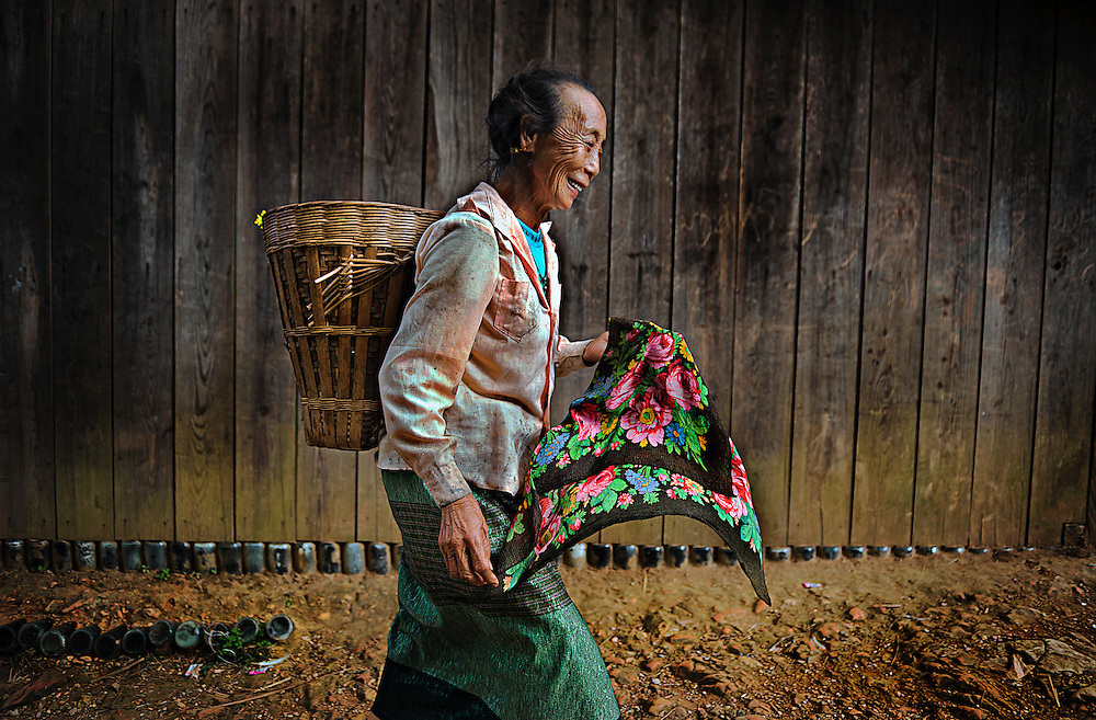 A Hmong woman in the mountains near Luang Prabang, Laos.