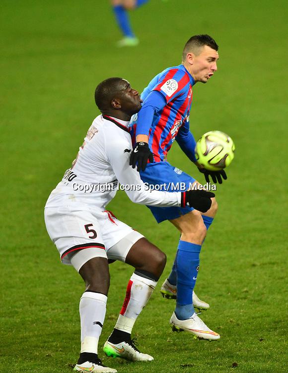 Mathieu DUHAMEL / Kevin GOMIS - 06.12.2014 - Caen / Nice - 17eme journee de Ligue 1 -<br />Photo : Dave Winter / Icon Sport