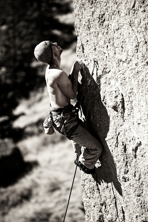 John Chipouras climbs an arete at Smith Rock in Oregon