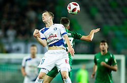Amadej Brecl of Celje vs Nik Kapun of Olimpija during football match between NK Olimpija Ljubljana and NK Celje in 3rd Round of Prva liga Telekom Slovenije 2018/19, on Avgust 05, 2018 in SRC Stozice, Ljubljana, Slovenia. Photo by Vid Ponikvar / Sportida