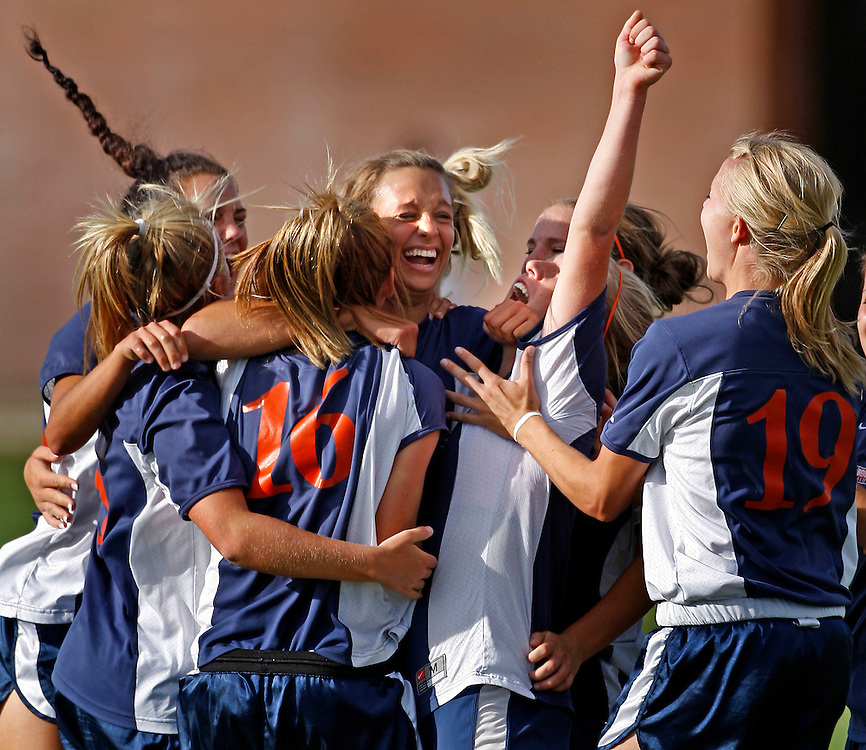 Brighton celebrates their third goal in their 3-0 win over  Alta in girls prep soccer at Alta High School in Draper, Utah Thursday, Sept. 27, 2007.  August Miller/ Deseret Morning News