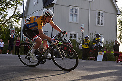 Lorena Wiebes (NED) chases back after a crash during Ladies Tour of Norway 2019 - Stage 2, a 131 km road race from Mysen to Askim, Norway on August 23, 2019. Photo by Sean Robinson/velofocus.com