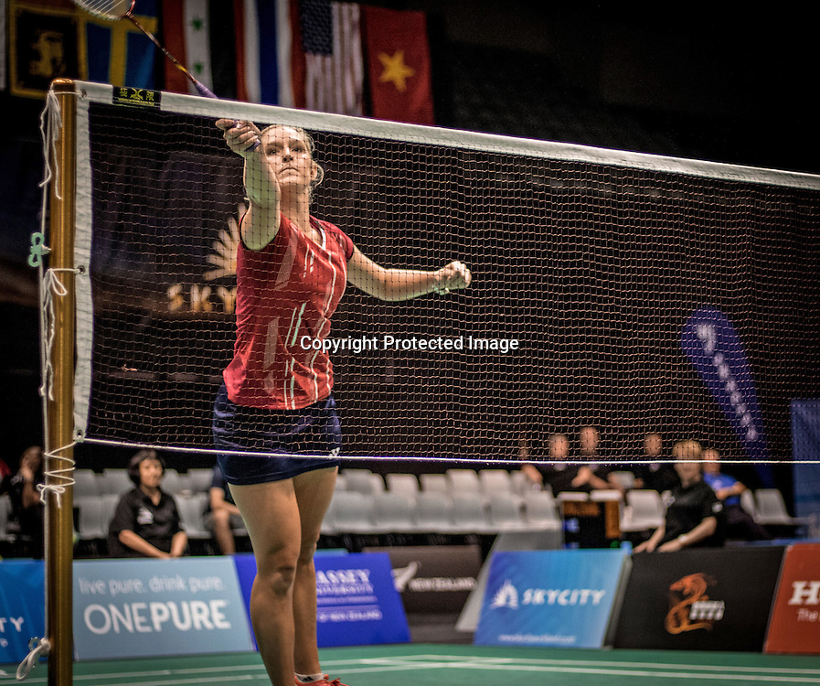 Vicki Copeland scores at the net in her match against Catelyn Rozario, in the final round of women&rsquo;s singles qualifying.<br /> Free to use editorial use only photo. Photo credit: Jonathon Stone/NZ Badminton.