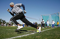FEB 6 2007: Calvin Johnson trains for the NFL combine with Coach Tom Shaw at his facilities in Disney's Wide World of Sports in Orlando Florida. Photo by Tom Hauck.