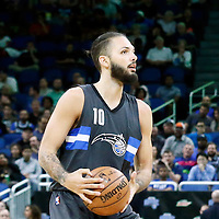 25 February 2017: Orlando Magic guard Evan Fournier (10) looks to pass the ball during the Orlando Magic 105-86 victory over the Atlanta Hawks, at the Amway Center, Orlando, Florida, USA.
