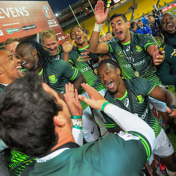 The South Africa team celebrate winning the cup final on day two of the 2017 HSBC World Sevens Series Wellington at Westpac Stadium in Wellington, New Zealand on Sunday, 29 January 2017. Photo: Dave Lintott / lintottphoto.co.nz