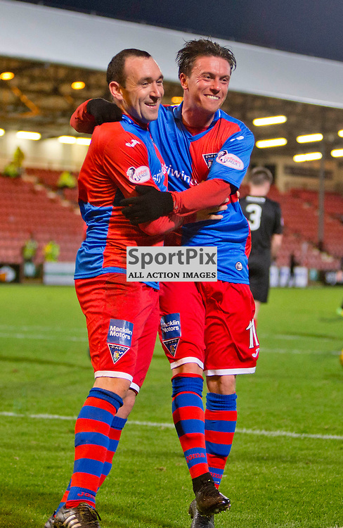 Dunfermline Athletic v Cowdenbeath SPFL League One Season 2015/16 East End Park 02 January 2016<br />  <br /> Michael Moffat celebrates scoring from the spot with Joe Cardle<br /> <br /> Dunfermline Athletic take on Cowdenbeath in League one, but also comemorate 20 years since the passing of DAFC player Norrie McCathie. Dunfermline and Cowdenbeath were the only two teams McCathie signed for and Dunfermline wear a replica of the strip Norrie last wore against St Mirren at Love Street in 1995. Cowdenbeath also wear a one off strip to comemorate the towns coal mining history. <br /> <br /> CRAIG BROWN | sportPix.org.uk