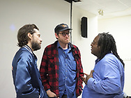 Hempstead, NY, USA. Oct. 30, 2017. After SYLVIO film screening and Q&A, (L-R) KENTUCKER AUDLEY & ALBERT BIRNEY chat with Prof. WILLIAM JENNINGS at Hofstra University. (© 2017 Ann Parry/Ann-Parry.com)