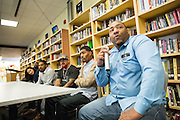 MHS alum Montell Allen presents during the Black Student Union seminar at Milpitas High School in Milpitas, California, on February 27, 2016. (Stan Olszewski/SOSKIphoto)