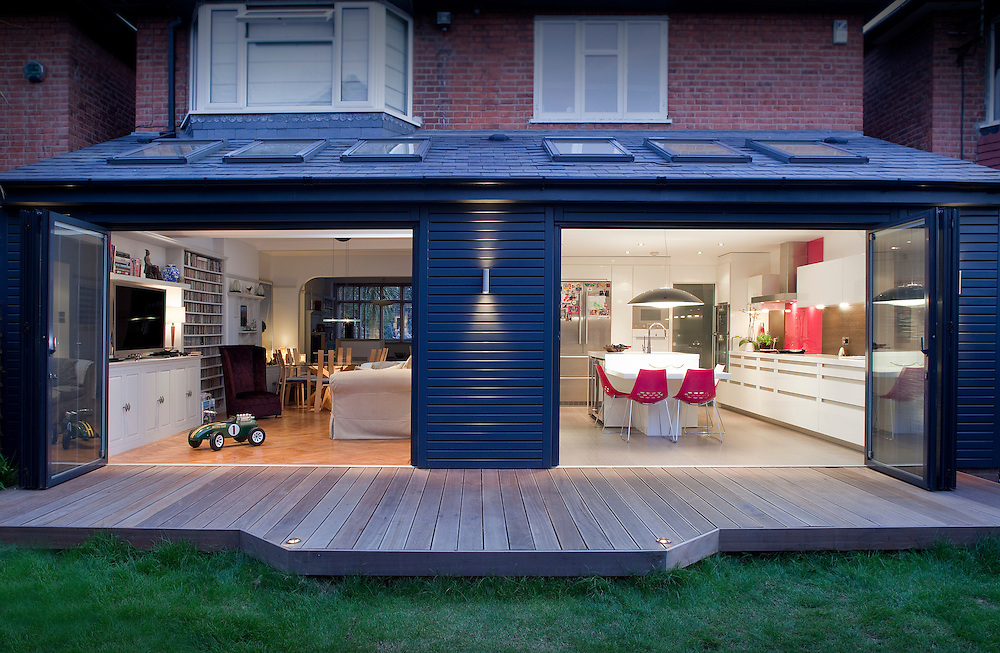 Architectural Design Extension With Open Windows Decking