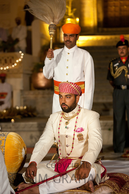 Lakshaya Raj, son and heir of 76th Maharana of Mewar, Shriji Arvind Singh Mewar of Udaipur, at the City Palace, Rajasthan, India