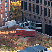Prairie Logic boxcar performance venue on green roof at Power and Light District. Taken from Power and Light Building.