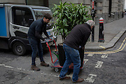 Contractors deliver corporate potted plants by trolley in Lombard Street, on 16th February 2017, in the City of London, England.