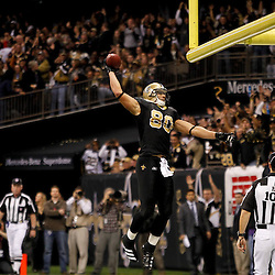 November 28, 2011; New Orleans, LA, USA; New Orleans Saints tight end Jimmy Graham (80) celebrates following a touchdown catch against the New York Giants during the second quarter of a game at the Mercedes-Benz Superdome. Mandatory Credit: Derick E. Hingle-US PRESSWIRE