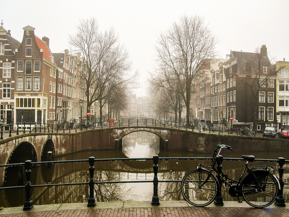 Amsterdam canal on cold February morning