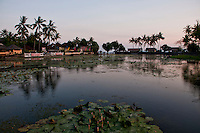 Panorama of the sacred lake at sunset in Candidasa, Bali, Indonesia