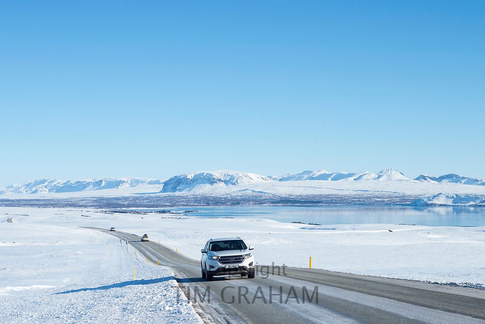 Snow-covered mountains along the main south road from Reykjavik, Iceland