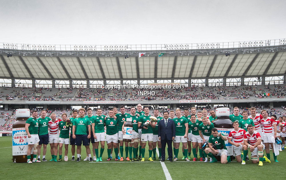 2017 Summer Tour 3rd Test, Ajinomoto Stadium, Chofu, Tokyo 24/6/2017<br /> Japan vs Ireland<br /> Ireland with the trophy after the game <br /> Mandatory Credit &copy;INPHO/Ryan Byrne