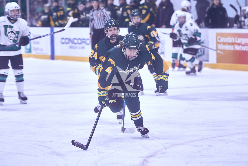 1st year forward, Jenna Merk (4) of the Regina Cougars during the Women's Hockey Away Game on Fri Jan 11 at University of Saskatoon. Credit: Arthur Ward/Arthur Images