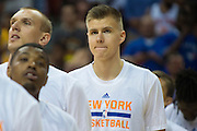 Kristaps Porzingis #46 of the New York Knicks stands during the National Anthem before tipoff against the San Antonio Spurs during an NBA Summer League game in Las Vegas, Nevada on July 11, 2015. (Cooper Neill for The New York Times)