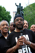 Rev. Al Sharpton and William Bell at the Critical Mass and The National Action Network(NAN) join forces for The Critical Mass monthly civil disobedience ride to protest the Not Gulity verdict of NYPD shooting death of Sean Bell, and critically injuring Joseph Guzman and Trent Benefield at 14th Streeet Union Square on May 30, 2008 ..Critical Mass is an event typically held on the last Friday of every month in cities around the world where bicyclists and other self-propelled commuters take to the streets en masse. While the ride was originally founded with the idea of drawing attention to how unfriendly the city was to bicyclists,[1] the leaderless structure of Critical Mass makes it impossible to assign it any one specific goal. In fact, the purpose of Critical Mass is not formalized beyond the direct action of meeting at a set location and time and traveling as a group through city or town streets.