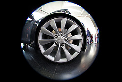 LONDON, ENGLAND - Saturday, June 7, 2014: A wheel of the Model S at the UK launch of Tesla Motors' Model S electric car at the Crystal. (Pic by David Rawcliffe/Propaganda)