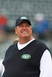 Sep 25, 2011; Oakland, CA, USA;  New York Jets head coach Rex Ryan on the sidelines before the game against the Oakland Raiders at O.co Coliseum.