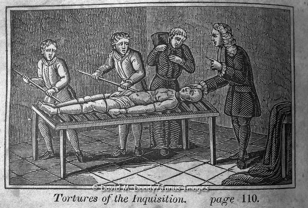 """The Inquisition in Spain"" Protestant vs Catholic violence. Vintage Woodcut Illustration from: ""Book of Martyrs"" Tortures carried out in the name of religion."