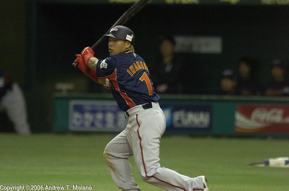 Team Japan Akinori Iwamura at-bat against Team Chinese Taipei in the World Baseball Classic at Tokyo Dome, Tokyo, Japan.