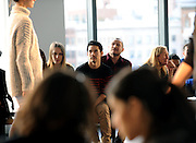 Designer Joseph Altuzarra, center, watches a rehearsal before the Altuzarra Fall 2014 collection is presented during Fashion Week in New York, Saturday, Feb. 8, 2014. (AP Photo/Diane Bondareff)