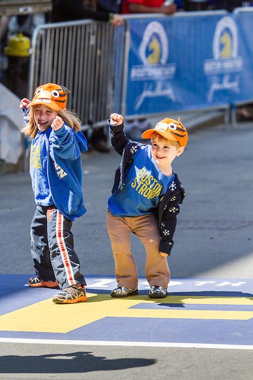 Boston Marathon: Boston Strong, kids play on finish line