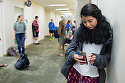 Sabrina Villanueva waits for the start of her Spanish class at the University of Rochester in Rochester, New York on August 31, 2016. Villanueva earned 12 credits through a community college while in high school in Dallas, but the University didn't accept them, causing her to pursue a minor in Spanish rather than sociology or psychology as she had originally intended.