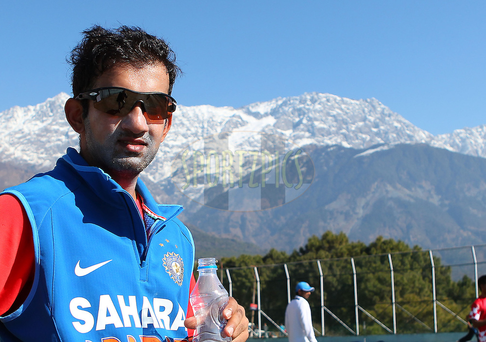 Gautam Gambhir of India during the Indian team practice session held at the HPCA Stadium in Dharamsala, Himachal Pradesh, India on the 26th January 2013..Photo by Ron Gaunt/BCCI/SPORTZPICS ..Use of this image is subject to the terms and conditions as outlined by the BCCI. These terms can be found by following this link:..http://www.sportzpics.co.za/image/I0000SoRagM2cIEc