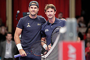 Tommy Haas and Juan Carlos Ferrero before the Men's Singles Final Champions Tennis match at the Royal Albert Hall, London, United Kingdom on 9 December 2018. Picture by Ian Stephen.