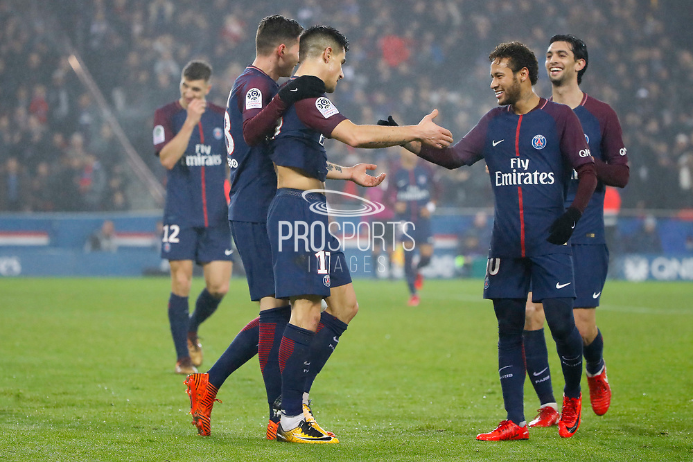 Yuri Berchiche (PSG) scored a goal against Remy VERCOUTRE (SM Caen) and celebrated it with Neymar da Silva Santos Junior - Neymar Jr (PSG), Javier Matias Pastore (psg), Julian Draxler (PSG), Thomas Meunier (PSG) during the French Championship Ligue 1 football match between Paris Saint-Germain and SM Caen on December 20, 2017 at Parc des Princes stadium in Paris, France - Photo Stephane Allaman / ProSportsImages / DPPI