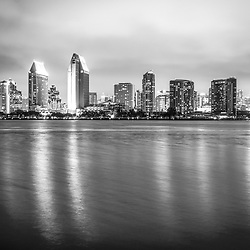 San Diego skyline at night black and white photo. San Diego is a major city in Southern California in the United States.