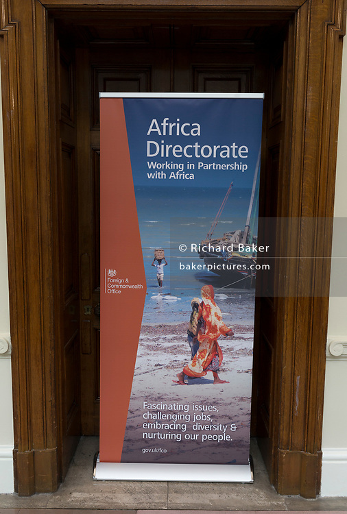 The door to the Africa Directorate, in the Foreign and Commonwealth Office (FCO), on 17th September 2017, in Whitehall, London, England.