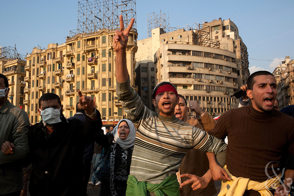 "Thousands of Egyptian protesters rally in Tahrir Square during January 25, 2011 ""Day of Anger"" demonstrations in downtown Cairo, Egypt. Today's protests across Egypt, inspired by the revolution in Tunisia, were organized by a wide range of opposition groups and intended to spark a similar movement in Egypt. Credit:Scott Nelson"