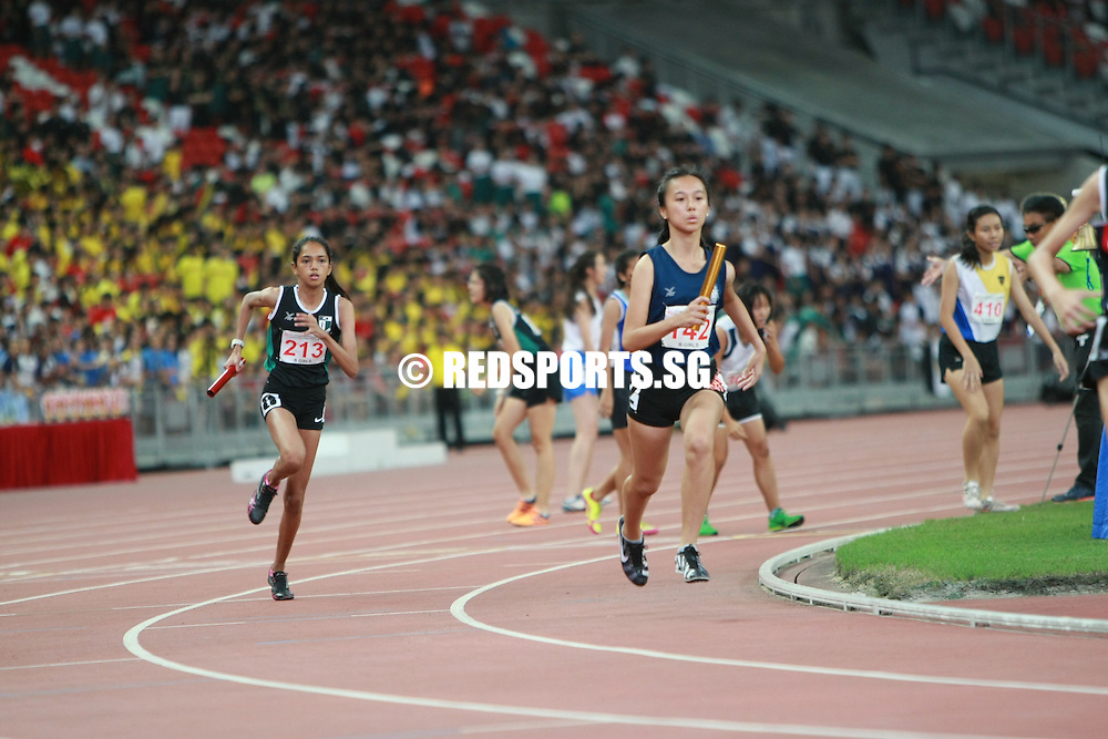 Singapore National Stadium, Friday, April 29, 2016 &mdash; Singapore Sports School (SSP) secured their 10th B Division Girls 4x400m relay title in the last 11 years at the 57th National Schools Track and Field Championships.<br />