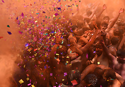 March 22, 2019 - Allahabad, Uttar Pradesh, India - Revellers dance as they celebrate the Holi festival,in Prayagraj  (Credit Image: © Prabhat Kumar Verma/ZUMA Wire)