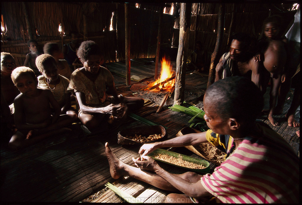Rufina Dochan and Udelia Toronam prepare a dish which Rufina claims has no name, but is made of sago grubs (Rhynchophorus ferrugineus, the larvae of Capricorn beetles), and sago flour wrapped in sago palm leaves. The packets are then roasted in the fire to prepare for eating, Sawa Village, Irian Jaya, Indonesia. The resulting dish is like a cooked pastry, with a chewy, slightly sweet crust and the grubs taste like fishy bacon. (Page 70,71)
