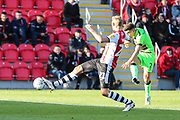 Forest Green Rovers Liam Shephard(2) shoots at goal scores a goal 0-2 during the EFL Sky Bet League 2 match between Exeter City and Forest Green Rovers at St James' Park, Exeter, England on 27 October 2018.