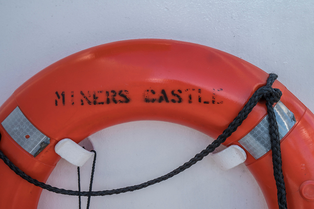 The life saving ring from the Pictured Rocks Cruise Boat Miners Castle.
