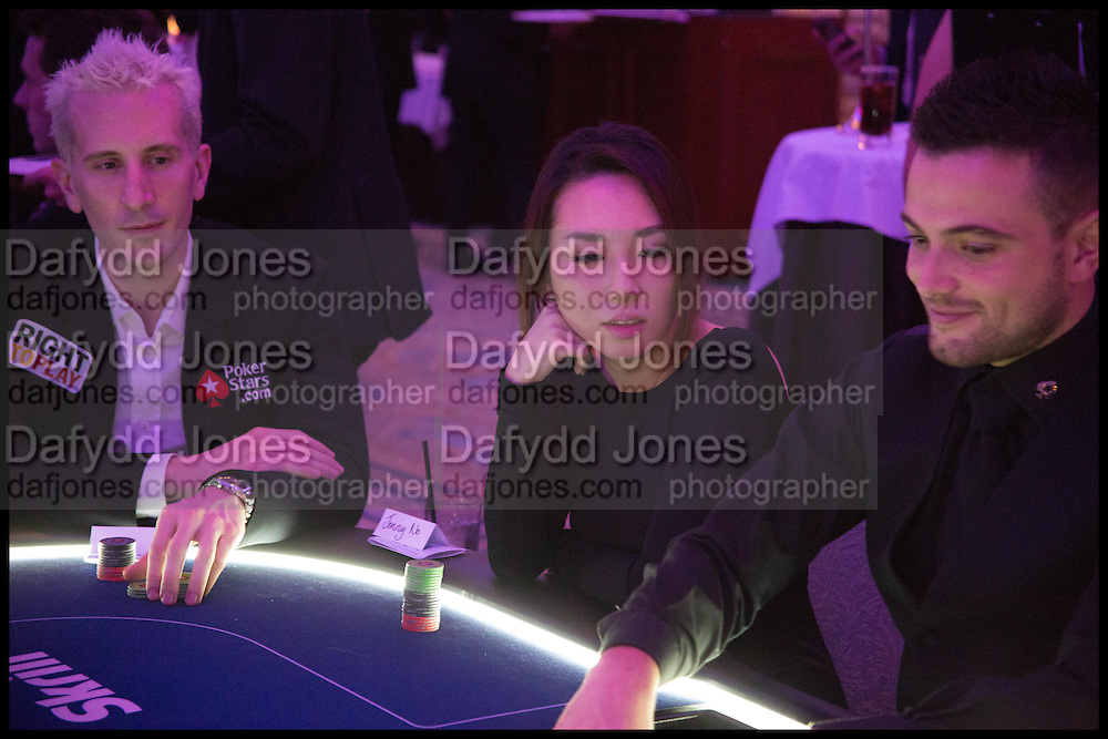 JENNY NO; BERTRAND ELKY, Quintessentially Foundation Poker Night,  annual poker night,  to raise money for Right to play, Greenhouse and Place2Be. Savoy. 13 November 2014.