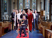 Antic Disposition present<br /> Richard III<br /> by William Shakespeare<br /> at the Temple Church, London, Great Britain <br /> Press photography <br /> 23rd August 2017 <br /> <br /> Toby Manley as Richard III<br />  <br /> Chris Courtenay as Lord Hastings<br /> <br /> William de Coverly as Duke of Clarence / Sir James Tyrell<br /> <br /> Joe Eyre as Duke of Buckingham<br /> <br /> Alex Hooper as Lord Rivers / Earl of Richmond<br /> <br /> <br /> Robert Nairne as Sir William Catesby<br /> <br /> Jess Nesling as Queen Elizabeth / Prince of Wales<br /> <br /> Charles Neville as King Edward IV / Mayor of London / Earl of Oxford<br /> <br /> Jill Stanford as Duchess of York / Bishop of Ely<br /> <br /> Louise Templeton as Queen Margaret<br /> <br /> Bryony Tebbutt as Lady Anne / Duke of York<br /> <br /> <br /> <br /> <br /> <br /> &nbsp;<br /> Directors<br /> Ben Horslen<br /> John Risebero<br /> Designer<br /> John Risebero<br /> Lighting Designer<br /> Tom Boucher<br /> &nbsp;<br /> Composer<br /> James Burrows<br /> &nbsp;<br /> Fight Director<br /> Bethan Clark&nbsp;of Rc-Annie Ltd.<br /> &nbsp;<br /> Stage Manager<br /> Damien Stanton<br /> &nbsp;<br /> Technical Stage Manager<br /> Angus Chisholm<br /> <br /> Photograph by Elliott Franks <br /> Image licensed to Elliott Franks Photography Services