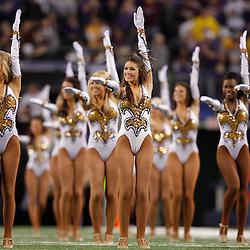 Jan 7, 2011; Arlington, TX, USA; LSU Tigers Golden Girls dancers perform prior to kickoff of the the 2011 Cotton Bowl against the Texas A&M Aggies at Cowboys Stadium.  Mandatory Credit: Derick E. Hingle