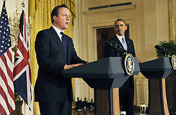 59640503  .British Prime Minister David Cameron (L) speaks during a joint press conference with U.S. President Barack Obama following their talks at the White House in Washington D.C. on May 13, 2013. Photo by: imago / i-Images. UK ONLY