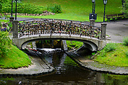 Lovelocks on a bridge in Bastejkalna park, Riga, Latvia